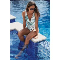 Womens Next White Floral Shape Enhancing Swimsuit - White