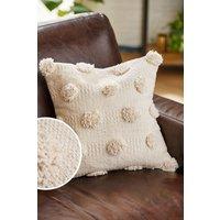 Next Textured Pom Pom Cushion - Natural