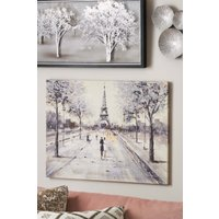 Next Paris Couple Scene Glitter Large Canvas - Silver