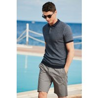 Mens Next Navy Textured Knitted Polo - Blue
