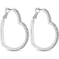 'Lipsy Crystal Heart Hoop Earrings - One Size - Silver