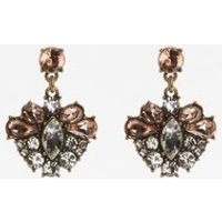 Womens Next Rose Gold Tone Jewelled Drop Earrings - Gold