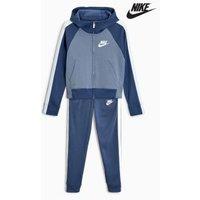 Girls Nike Blue Fleece Tracksuit - Blue