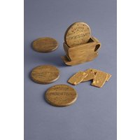 Next 4 Pack Digestive Biscuit Coaster Holder - Natural