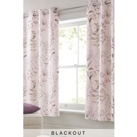 Next Soft Floral Blackout Lined Eyelet Curtains - Pink