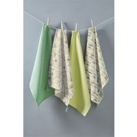 Next Set of 4 Blake Floral Tea Towels - Green
