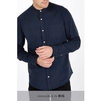 Mens Next Navy Long Sleeve Oxford Grandad Shirt - Blue