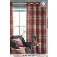 Next Thermal Morcott Woven Check Eyelet Curtains - Red