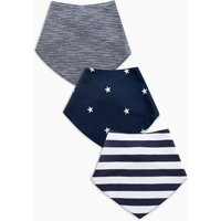 Boys Next Navy/White Stripe/Star Print Dribble Bibs Three Pack - Blue