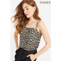 Womens Oasis Animal Laura Leopard Square Neck Cami - Animal