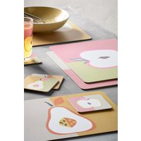 Next Set of 4 Fruit Placemats And Coasters - Pink
