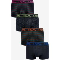 Mens Next Neon Mixed Pattern Hipsters Four Pack - Black