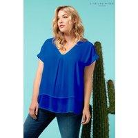 Womens Live Unlimited Royal Blue Morocain Blouse With Chiffon Hem - Blue