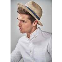 Mens Next Neutral Geo Printed Panama - Cream