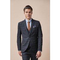 Mens Next Navy Skinny Fit Check Suit: Jacket - Black