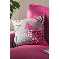 Next Embroidered Abstract Leaf Cushion - Pink