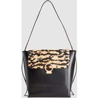 Womens Next Tiger Print Leather Structured Hobo Bag - Black