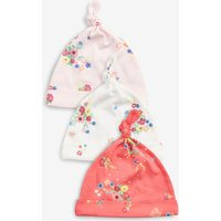 Girls Next Bright Multi Floral Tie Top Hats Three Pack (0-18mths) - Pink