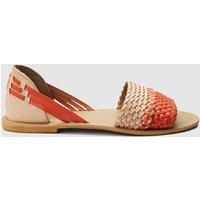 Womens Next Orange/Natural Woven Leather Peep Two Part Shoes - Orange