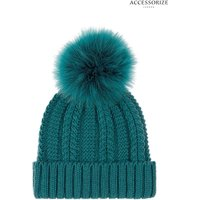 Womens Accessorize Teal Luxe Pom Beanie - Blue