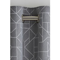 Next Linear Geo Jacquard Eyelet Curtains - Grey