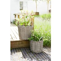 Next Set of 2 Polyrattan Basket Planters - Grey