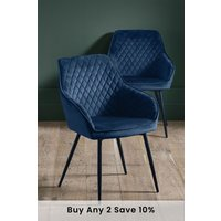 Next Set Of 2 Hamilton Chairs With Arms - Blue
