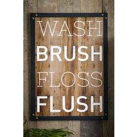Next Wash Brush Floss Flush Wall Art - Natural