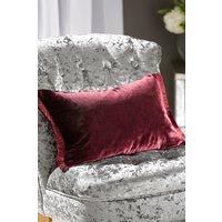 Next Plush Velvet Fringe Cushion - Red