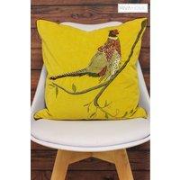Riva Home Embroidered Pheasant Cushion - Yellow