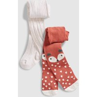 Girls Next Rust Fox Tights Two Pack (0mths-2yrs) - Brown