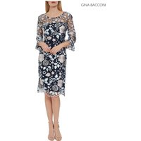 Womens Gina Bacconi Blue Piper Embroidery Dress With Cuff Detail - Blue