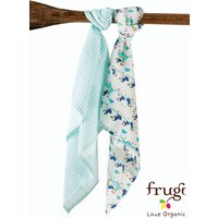 Girls Frugi Organic Puffin 2 Pack Muslins - White