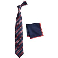 Mens Next Navy Stripe Tie And Pocket Square Set - Blue