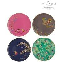 Set of 4 Sara Miller London Cake Plates - Teal