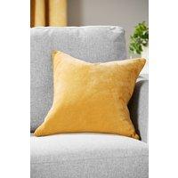 Next Soft Velour Square Cushion - Yellow