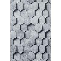 Next Paste The Wall Hexagonal Tile Wallpaper - Grey