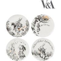 Set of 4 V&A Alice in Wonderland Side Plates - White