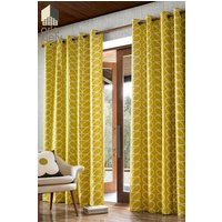 Orla Kiely Linear Stem Eyelet Curtains - Yellow