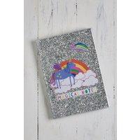 Next A5 Glitter Unicorn Notebook - Silver