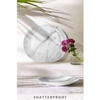 Next Set of 4 Marble Print Melamine Salad Plates - White