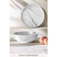 Next Set of 4 Marble Print Melamine Dessert Bowls - White