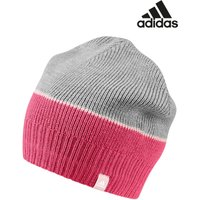 Womens adidas Grey Stripy Beanie - Grey