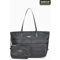 Womens Barbour International Trail Nylon Quilted Tote Bag - Black