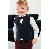 Boys Next Navy Stripe Waistcoat, Shirt And Bow Tie Three Piece Set (3mths-6yrs) - Blue