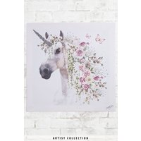 Next Artist Collection Floral Unicorn By Summer Thornton Canvas - Pink