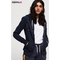Womens Superdry Carly Carnival Embroidered Zip Hoody - Blue