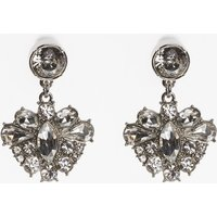 Womens Next Silver Tone Clip-On Jewelled Drop Earrings - Silver