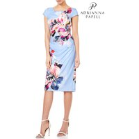 Womens Adrianna Papell Blue Watercolor Magnolia Printed Cowl Neck Dress - Blue