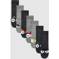 Boys Next Grey Monster Comfort Socks Five Pack (Older) - Grey